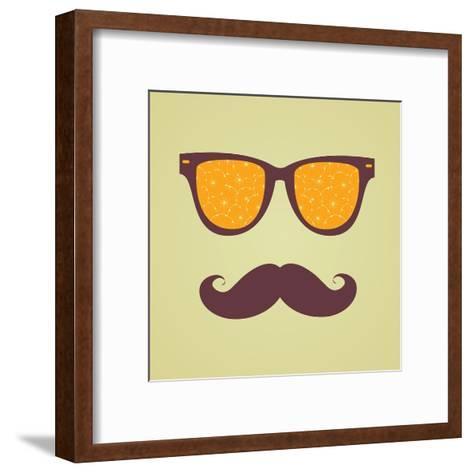 Vintage Hipster Background. Sunglasses Reflection Orange-AnnaKukhmar-Framed Art Print