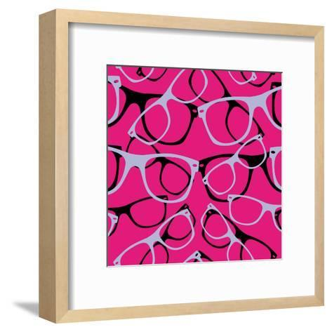 Glasses Seamless Pattern Retro Sunglasses. Vector Abstract Background- mvasya-Framed Art Print