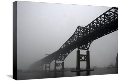 The Pulaski Skyway in the Snow and Fog-Photography by Steve Kelley aka mudpig-Stretched Canvas Print