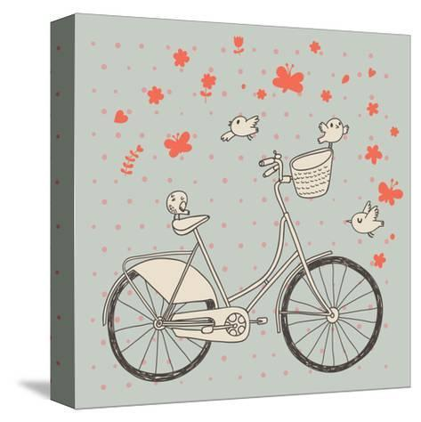 Vintage Bicycle in Vector. Retro Cartoon Card. Ecology Concept Background with Bike, Birds and Butt-smilewithjul-Stretched Canvas Print