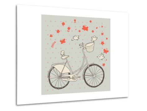 Vintage Bicycle in Vector. Retro Cartoon Card. Ecology Concept Background with Bike, Birds and Butt-smilewithjul-Metal Print