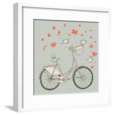 Vintage Bicycle in Vector. Retro Cartoon Card. Ecology Concept Background with Bike, Birds and Butt-smilewithjul-Framed Art Print