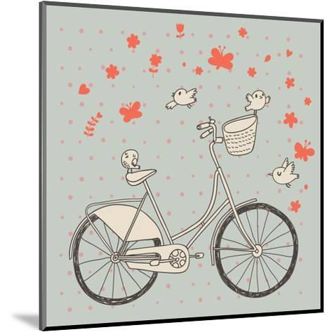 Vintage Bicycle in Vector. Retro Cartoon Card. Ecology Concept Background with Bike, Birds and Butt-smilewithjul-Mounted Art Print