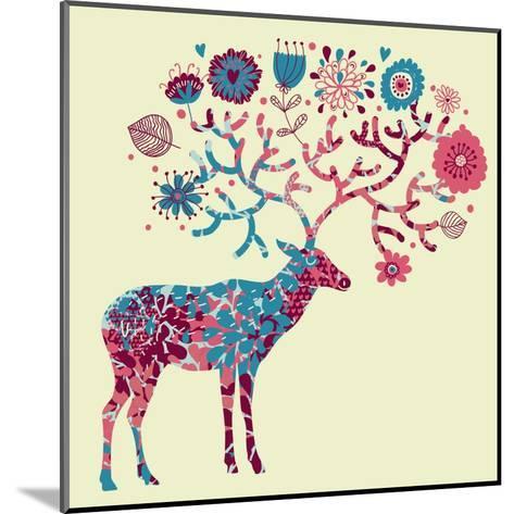 Deer Made of Flowers-smilewithjul-Mounted Art Print