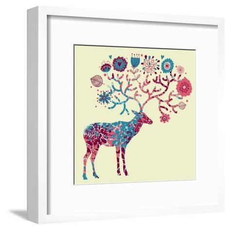 Deer Made of Flowers-smilewithjul-Framed Art Print