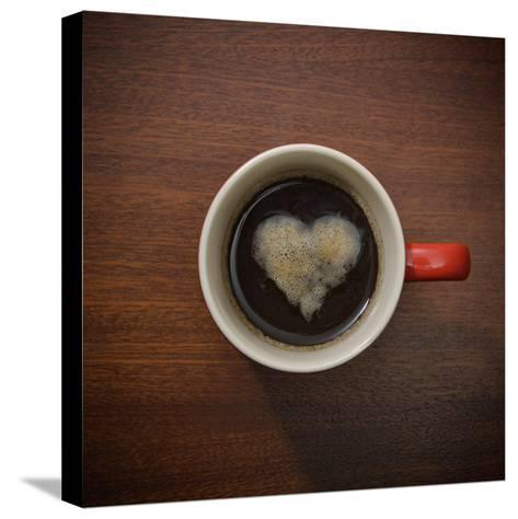 Coffee Cup with Crema Resembling a Heart Shape-David Malan-Stretched Canvas Print