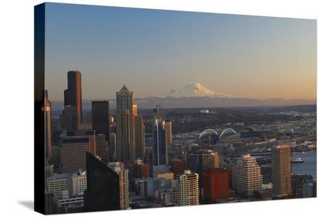 Aerial View of Seattle City Skyline-Peter Muller-Stretched Canvas Print
