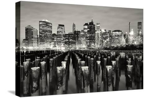 Manhattan at Night-Shobeir Ansari-Stretched Canvas Print