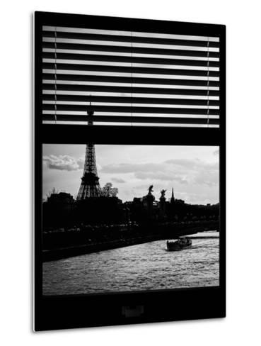 Window View - Color Sunset in Paris with the Eiffel Tower and the Seine River - France - Europe-Philippe Hugonnard-Metal Print