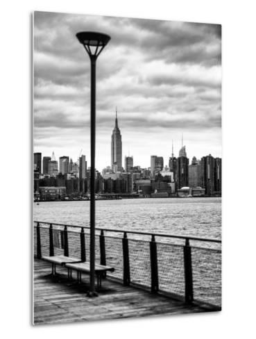 View of the Skyscrapers of Manhattan with the Empire State Building a Jetty in Brooklyn at Sunset-Philippe Hugonnard-Metal Print