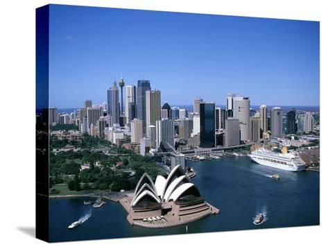 Australia Aerial of Sydney Opera House and Cruise--Stretched Canvas Print