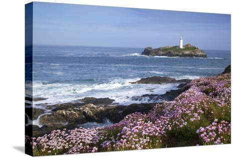 Godrevy Island and Lighthouse from Gwithian Thrift--Stretched Canvas Print