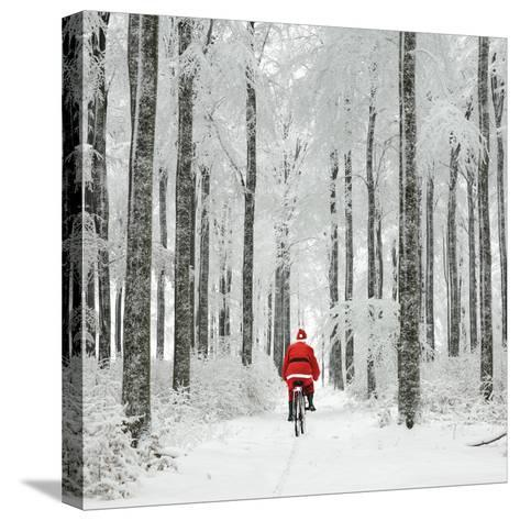 Father Christmas on a Bicycle in Snow--Stretched Canvas Print