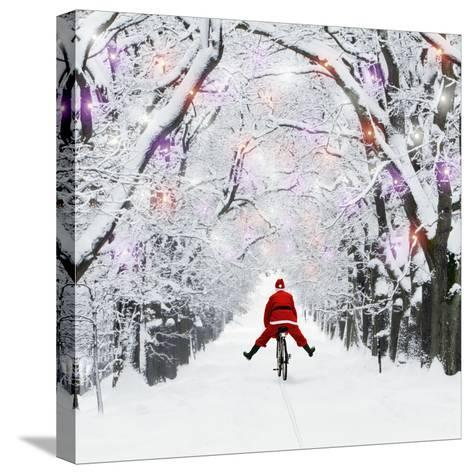 Father Christmas Riding Through Avenue in Winter--Stretched Canvas Print
