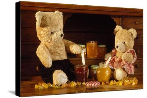 Teddy Bear with Honey and Jam--Stretched Canvas Print