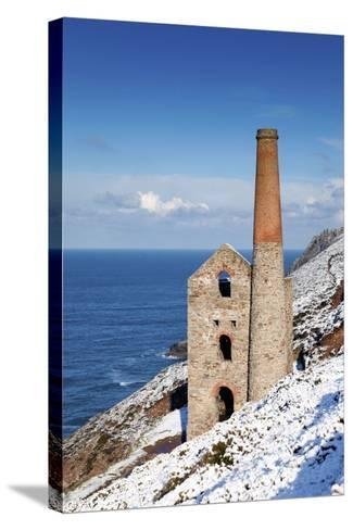 Wheal Coates Engine House in Winter Snow--Stretched Canvas Print