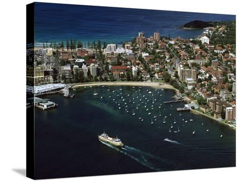 Manly and Manly Cove with Ferry Approaching Terminal--Stretched Canvas Print