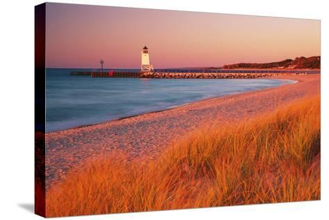 USA Charlevoix Lighthouse and Beach at Sunset--Stretched Canvas Print