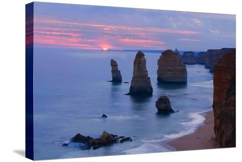 Twelve Apostles Sunset Setting Sun over the Sandstone--Stretched Canvas Print