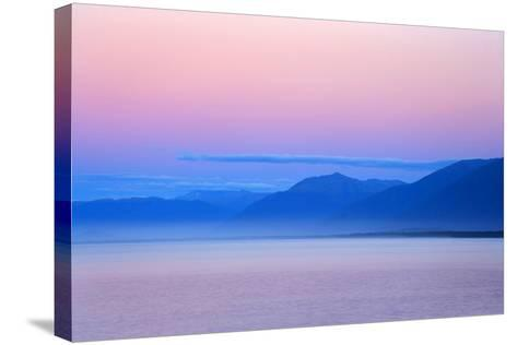 Twilight Ocean and Mountains around Jackson Bay--Stretched Canvas Print