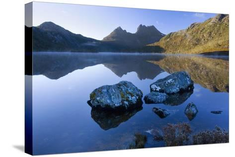 Mountain Scenery Dove Lake in Front of Massive--Stretched Canvas Print