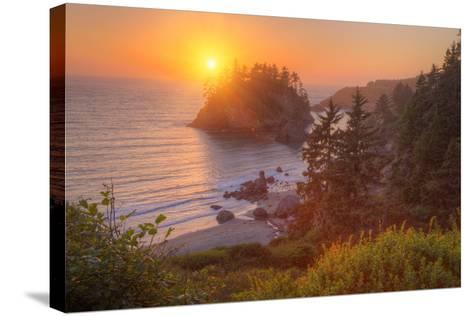Setting Sun at Trinidad, Northern California Coast-Vincent James-Stretched Canvas Print