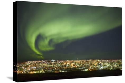 Aurora Borealis over Reykjavik-Arctic-Images-Stretched Canvas Print