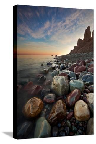 Sunrise at Chimney Bluffs-David Copley-Stretched Canvas Print
