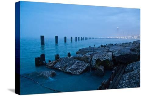 Foggy View of Chicago from Lakeshore-Megan Ahrens-Stretched Canvas Print
