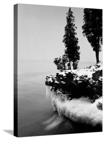 Usa, Wisconsin, Lake Michigan, Shore Scenic, Winter (B&W)-Alex L. Fradkin-Stretched Canvas Print