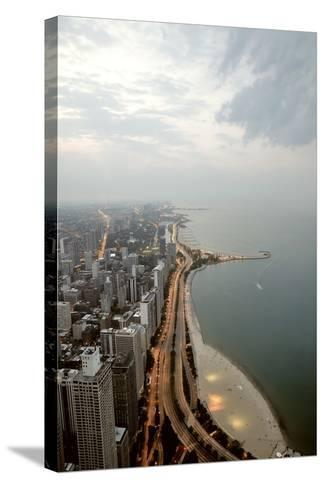 Lake Michigan and Chicago Skyline.-Ixefra-Stretched Canvas Print