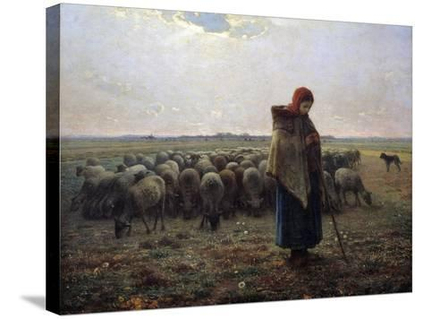 The Great Shepherdess by Jean-Francois Millet--Stretched Canvas Print
