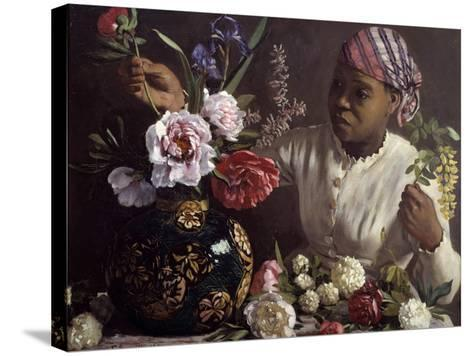 The Black Woman with Peonies by Frederic Bazille--Stretched Canvas Print