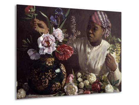 The Black Woman with Peonies by Frederic Bazille--Metal Print