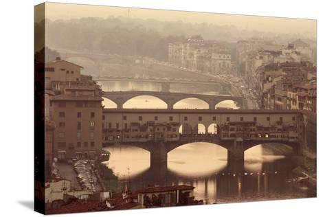 Italy, Tuscany, Florence, Ponte Vecchio and Arno River with Bridge-Jeff Spielman-Stretched Canvas Print