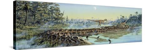 A Pair of Allosaurus Dinosaurs Explore the Remains of a Diplodocus Carcass--Stretched Canvas Print