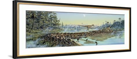 A Pair of Allosaurus Dinosaurs Explore the Remains of a Diplodocus Carcass--Framed Art Print