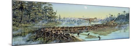 A Pair of Allosaurus Dinosaurs Explore the Remains of a Diplodocus Carcass--Mounted Art Print
