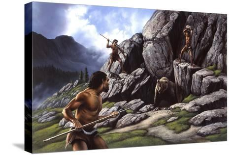 Neanderthals Hunt a Cave Bear--Stretched Canvas Print