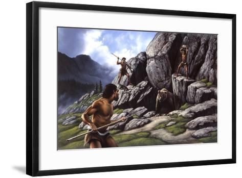 Neanderthals Hunt a Cave Bear--Framed Art Print
