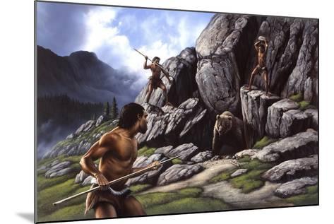 Neanderthals Hunt a Cave Bear--Mounted Art Print