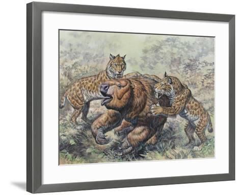 Smilodon Dirk-Toothed Cats Attacking a Glossotherium--Framed Art Print