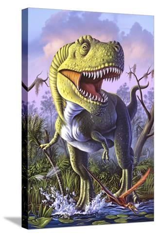 A Tyrannosaurus Rex Crashes Through a Swamp--Stretched Canvas Print