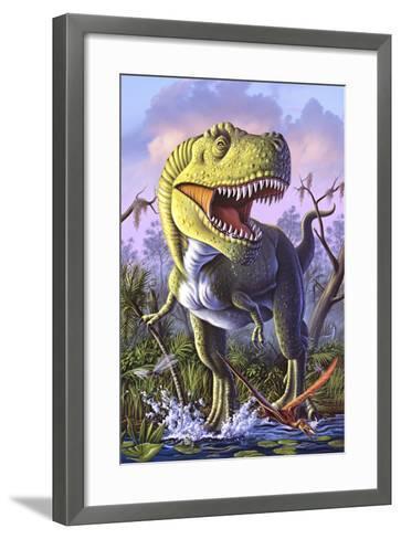 A Tyrannosaurus Rex Crashes Through a Swamp--Framed Art Print