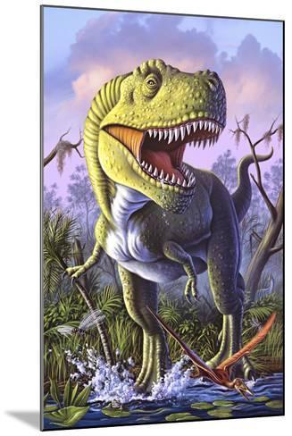 A Tyrannosaurus Rex Crashes Through a Swamp--Mounted Art Print