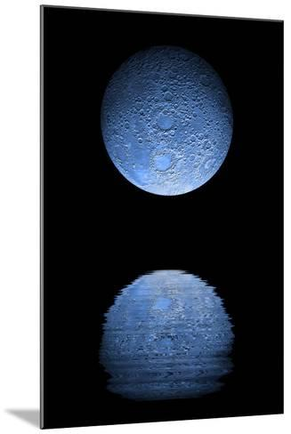 Artist's Depiction of a Heavily Cratered Blue Moon Rising over a Body of Calm Water--Mounted Art Print