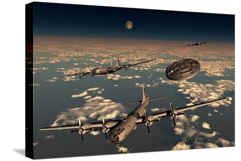 A Ufo Buzzing a Group of B-29 Superfortress Aircraft--Stretched Canvas Print