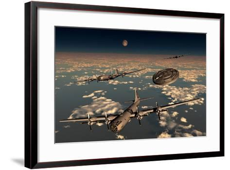 A Ufo Buzzing a Group of B-29 Superfortress Aircraft--Framed Art Print