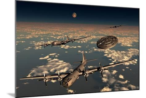 A Ufo Buzzing a Group of B-29 Superfortress Aircraft--Mounted Art Print