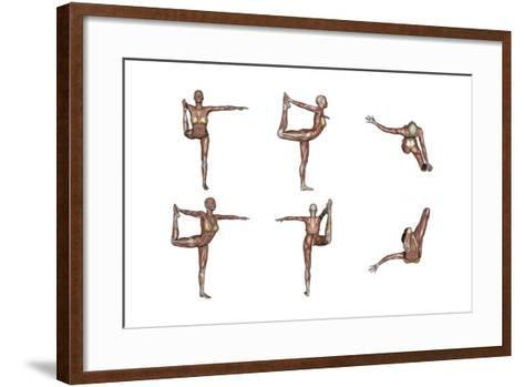 Six Different Views of Dancer Yoga Pose Showing Female Musculature--Framed Art Print